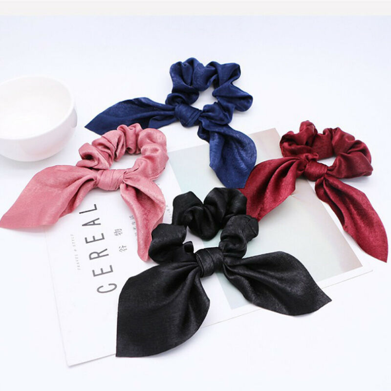 Fashion Summer Ponytail Elastic Hair Rope for Women Hair Bow Ties Scrunchies Ribbon Female Solid Color Hair Bands Hairbands