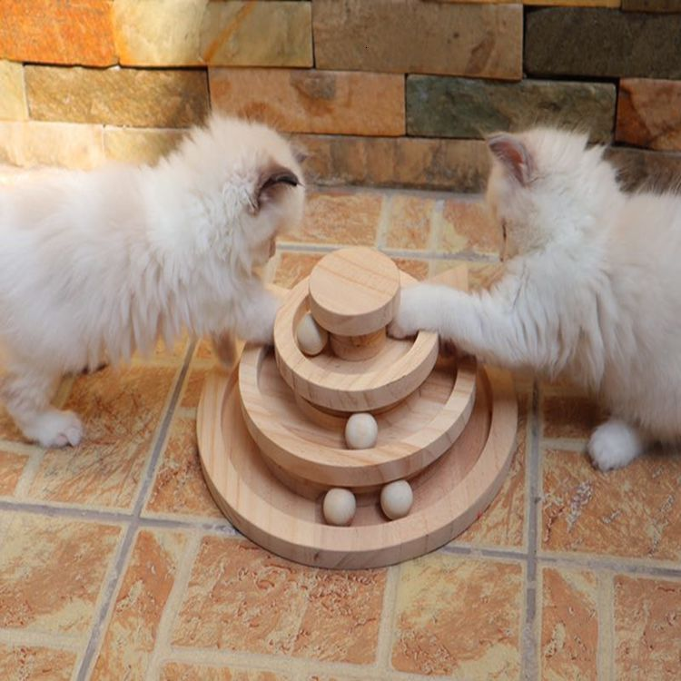 Three Levels Wooden Tower Tracks Cat Interactive Ball Toys 1