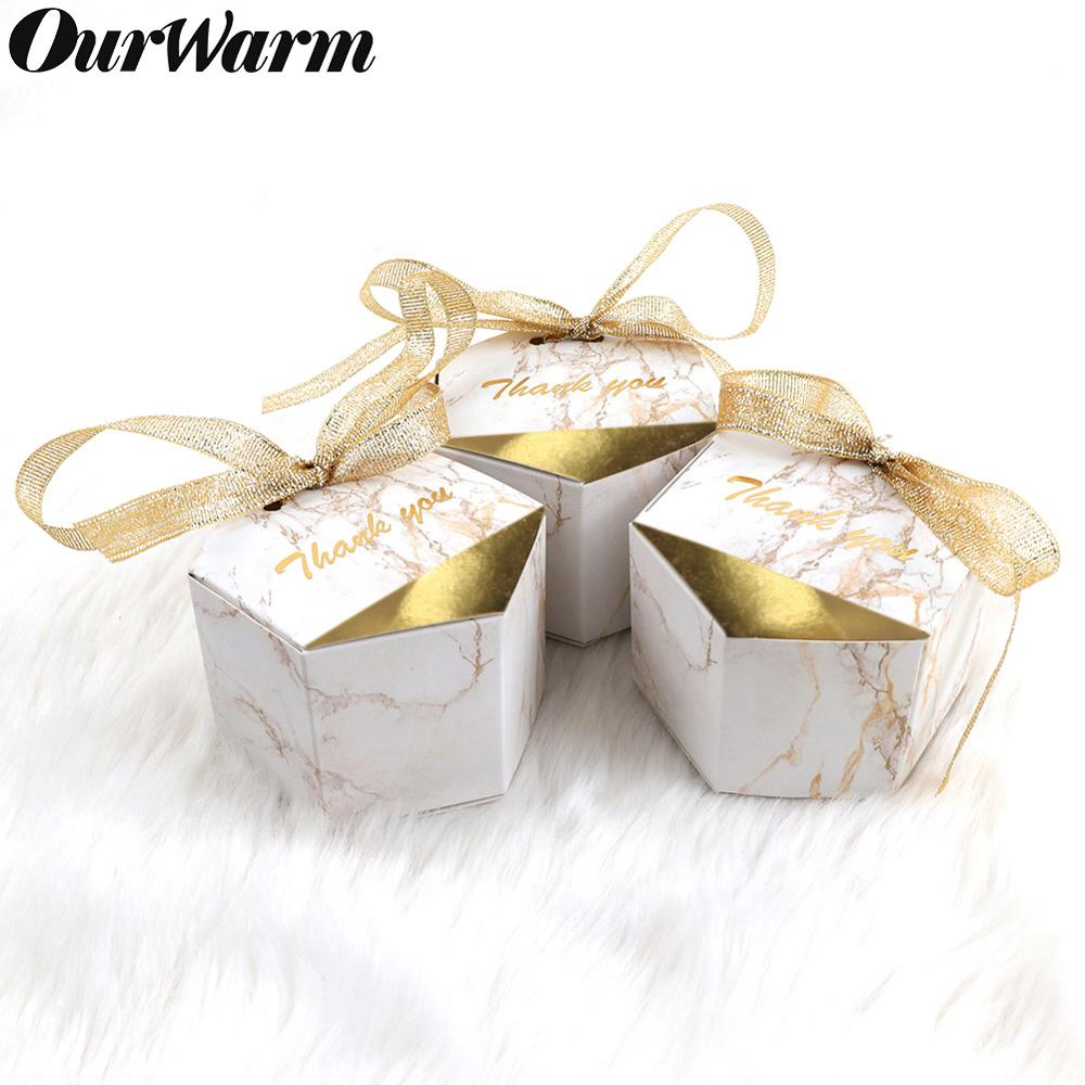 OurWarm 10/20/50pcs Marbling Candy Box Paper Cardboard Gift Wedding Birthday Baby Shower Event Party Supplies
