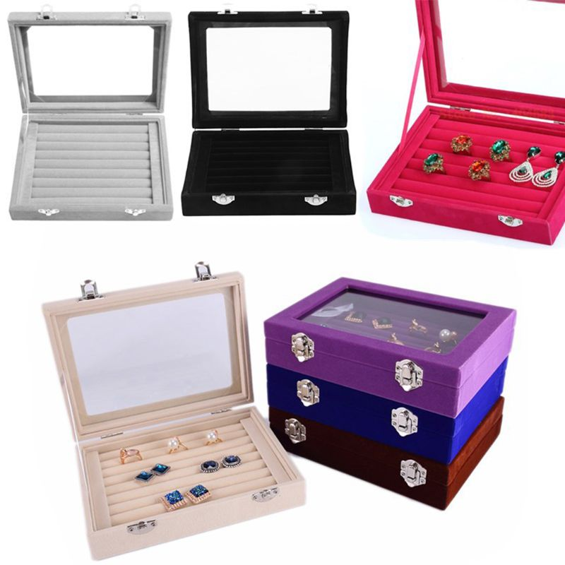 Velvet Glass Ring Earring Jewelry Display Organizer Box Tray Holder Storage Case Portable Jewelry Box Storage Zipper Jewelers
