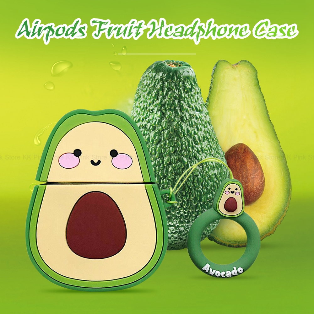 Headphone Case For Apple Airpods 1 2 Cute 3D Cartoon Avocado Wireless Bluetooth Headset Silicone Cover With Finger Ring Strap