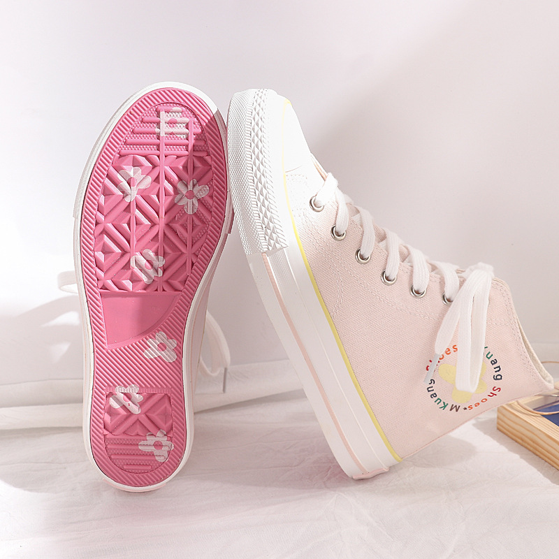 Pink Shoes Girls Canvas Shoes High Top Floral Lace Up Sneakers With Flowers White Casual Shoes Students Chic Shoes 35-40 Sweet