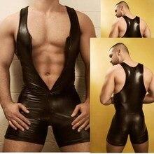 Мужское нижнее белье, черный сексуальный комбидресс из искусственной кожи, на молнии, с открытым бюстом, эластичный облегающий эротический ...