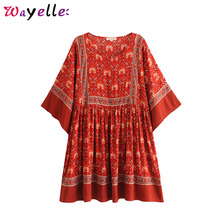 Boho Red Dress Kimono Sleeves Beach Dresses Floral Print Pleated Mini Dress Women 2019 Summer Chic Casual Loose Dress Women navy random floral print self tie at sleeves mini dress