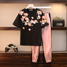 Plus Size Summer Tracksuits Women two piece set Casual O-nec