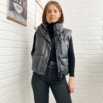 New Autumn Winter Women Black Sleeveless Faux Leather Jacket Casual Zipper Solid Coat Female Warm Cotton Outwear Tops Ladie 2