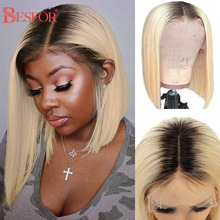Closure Wig Bob-Wigs Human-Hair 1b-Root 613-Blonde Pre-Plucked BESFOR 4x4 Lace Black-Women