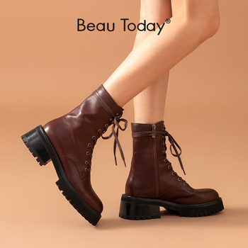 BeauToday Motorcycle Boots Women Calfskin Leather Zip Lace-Up Round Toe Ankle Length Fashion Lady Platform Shoes Handmade 02346 beautoday fashion ankle boots women calfskin leather round toe front zipper closure autumn winter lady shoes handmade 03808
