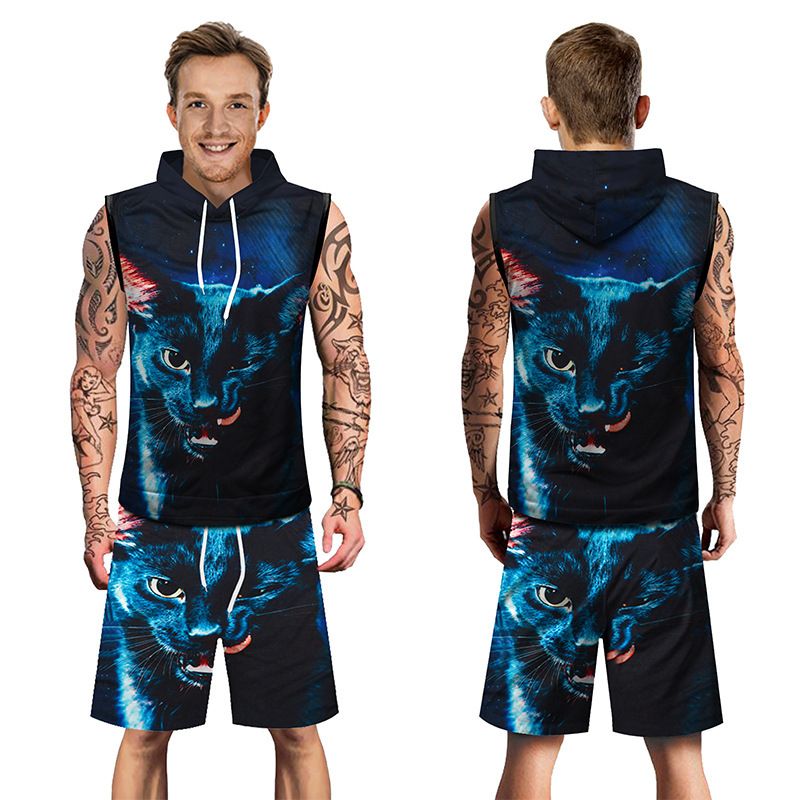 Europe And America Large Size Street MEN'S Suit Men Sleeveless Hooded T-shirt Shorts Cat Head 3D Printed Two-Piece Set