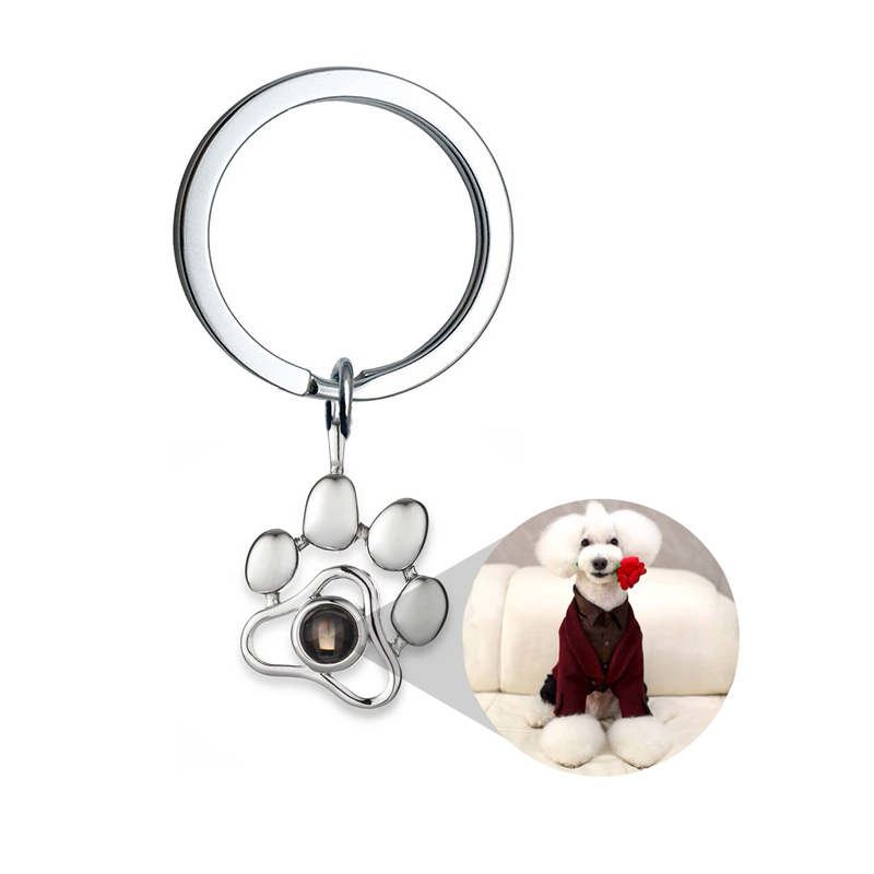 2020 New Personalized Custom Dog Paw Keychains Baby Family Lovers Pet Photo Keyrings Key Chain Rings for Women Gift DropShipping