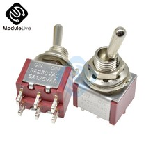 MTS-202 6mm Toggle Switch Single Pole Double Throw SPDT ON-ON 120VAC 6A 1/4 Inch Mounting 13*11.5MM (MTS202) 2Positions 6Pins(China)