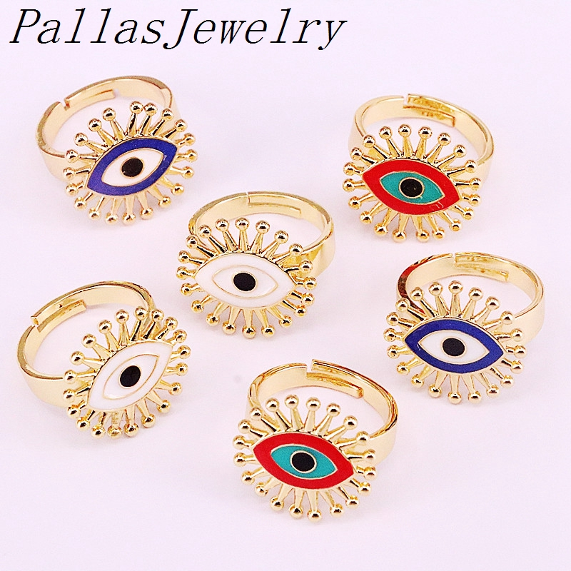 10Pcs New design enamel jewelry ring,Eye shape gold filled rings,women wholesale