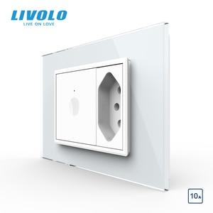 Image 3 - Livolo C9 US Standard 67.5 مللي متر مفتاح حائط يعمل باللمس ، 2Way جهاز التحكم عن بعد ، زجاج كريستال أبيض ، مفتاح بلاستيك ، زر ضغط ، مع قابس البرازيل