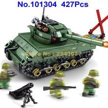 101304 427 шт М4 Шерман Танк Империя Второй мировой войны 3 фигурки строительные блоки игрушки