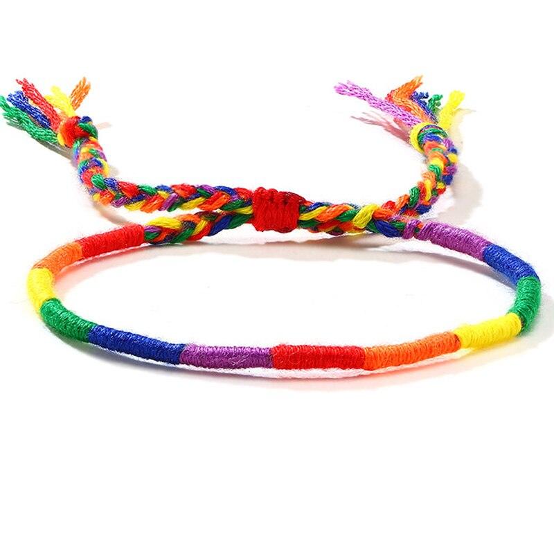 Веревочный браслет Радуга, гей, ЛГБТ, гордость любви, тонкое запястье, регулируемое для женщин, подарки для любви