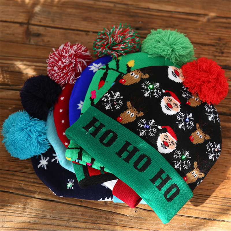 H8633a392d14c403090af06c17013b3712 - LED Light Christmas Hats Beanie Sweater knitted Christmas Santa Hat Light Up Knitted Hat for Kid Adult For Christmas Party