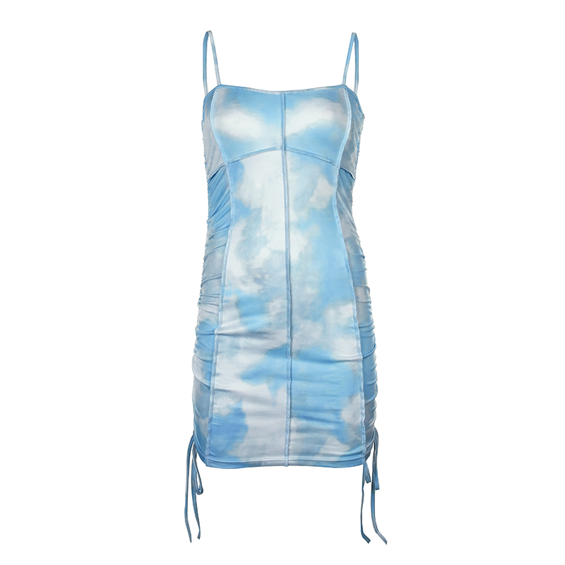Darlingaga Fashion Strap Tie Dye Ruched Summer Dress Women Drawstring Patchwork Bodycon Club Party Dress Sundress Sexy Dresses 4