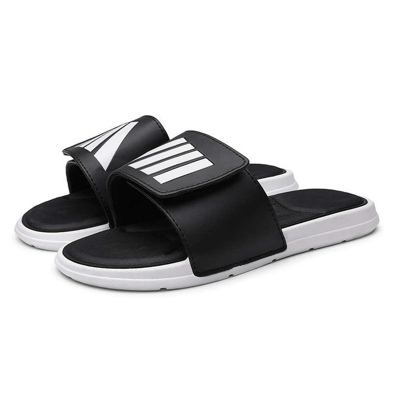 Men's Slippers EVA Men Shoes Women Couple Flip Flops Soft Black And White Stripes Casual Summer Male Women Chaussures Sandals