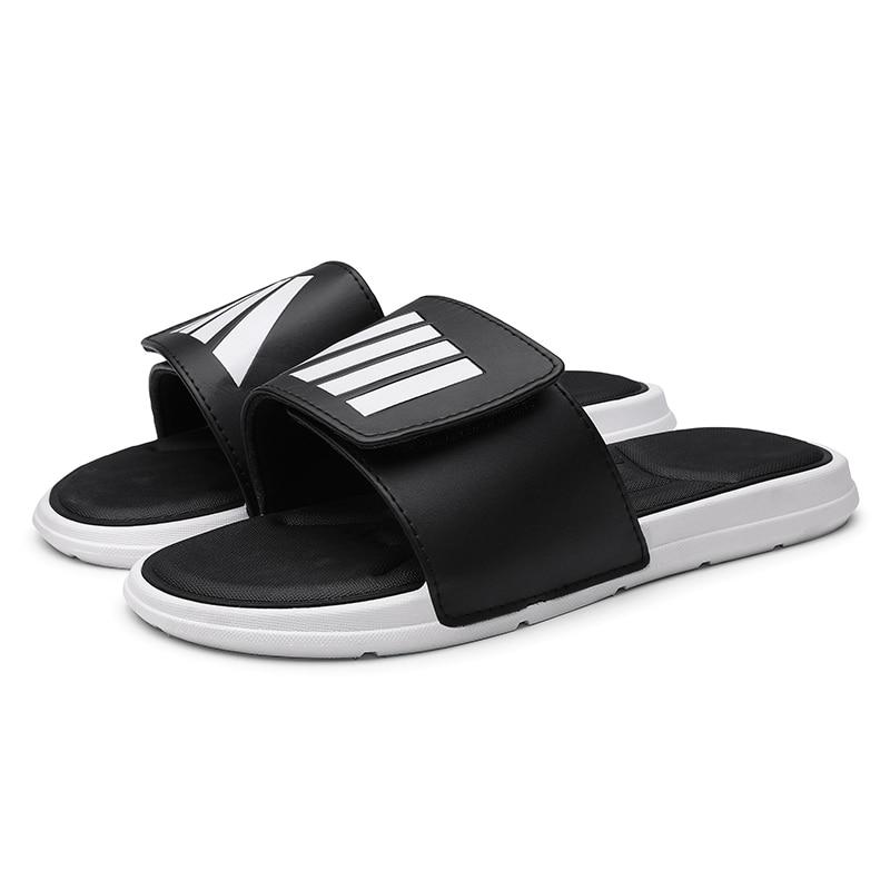 Men's Slippers EVA Men Shoes Women Couple Flip Flops Soft Black And White Stripes Casual Summer Male Women Chaussures Sandals