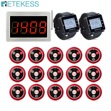 Retekess ร้านอาหาร Pager 15 T117 Call Transmitter ปุ่ม + 2 นาฬิกา + Receiver Host Wireless Calling System Bar Cafe pager
