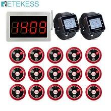 Retekess Restaurant Pager 15 T117 Anruf Sender Tasten + 2 Uhr Empfänger + Empfänger Host Wireless Aufruf System Bar Cafe pager