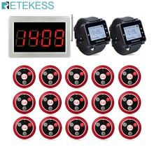 Retekess buscapersonas para restaurante 15 T117, botones de transmisor de llamadas, 2 reloj receptor, sistema de llamadas inalámbrico, Bar, café, buscapersonas