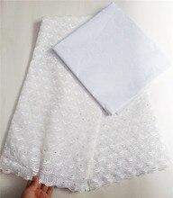 Szwajcarski woal koronki 100% bawełny nigerii koronki tkaniny afrykańska tkanina na suknię ślubną 5 stoczni