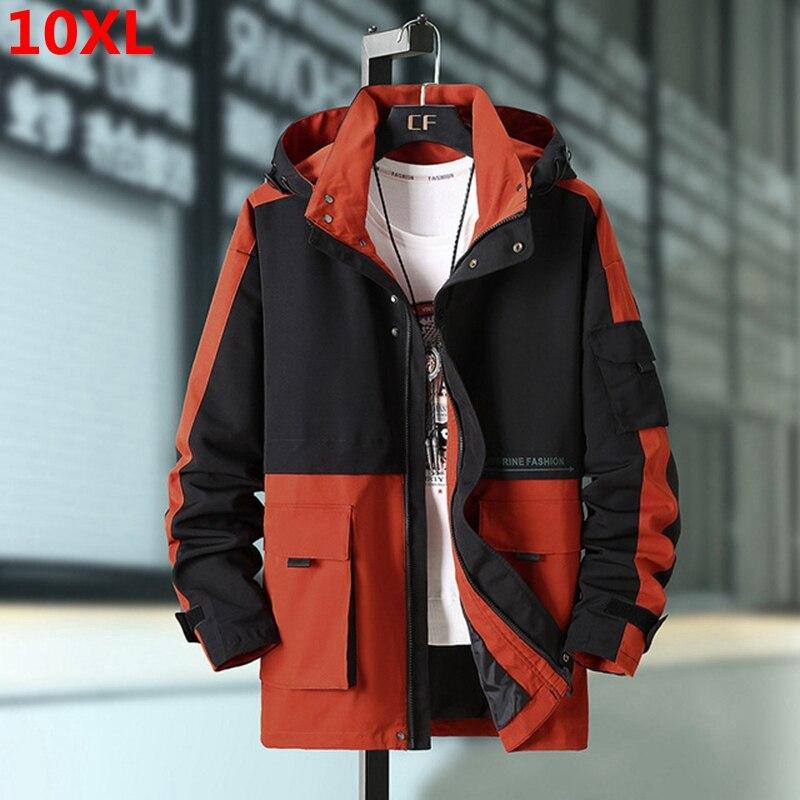 Thin section tide men's plus size windbreaker mens overcoat men's loose extra large color matching coat 150kg long jacket men