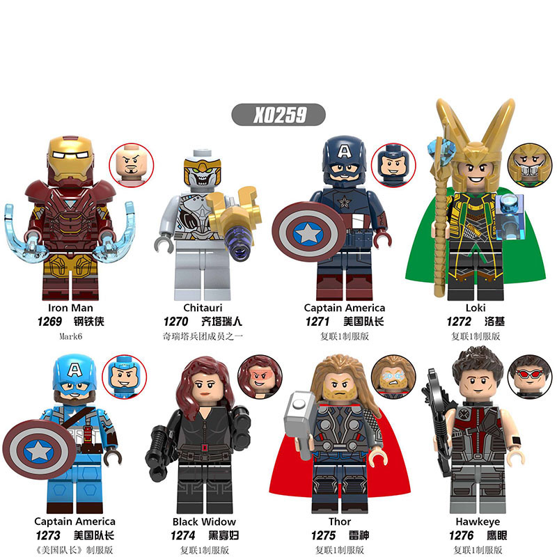 Building Blocks Marvel Avengers Thor Iron Man Chitauri Black Widow Hawkeye Captain America Figuers Toys For Children Gift X0259