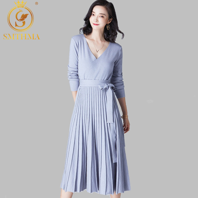 SMTHMA New Winter Women Knitted Pleated Party Dress Long Sleeve Thick Sweater Dress Elegant Sashes Dresses Vestidos Free Belt