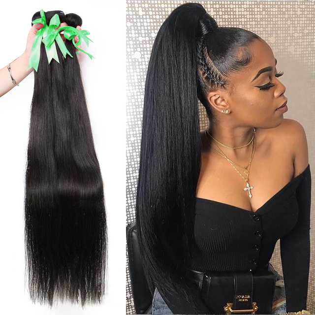 Straight 8 34 36 38 40Inch Braziliaans Haar Weave Bundels Remy Haar 100% Human Hair Extension Lange Volledige haar