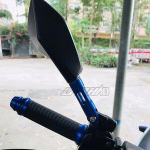 Image 4 - Универсальное алюминиевое зеркало заднего вида с ЧПУ на руль мотоцикла синее антибликовое зеркало для Honda Yamaha Suzuki Scooter ktm