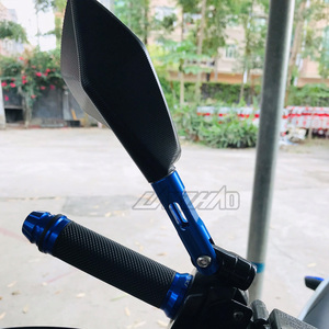 Image 4 - Espejos retrovisores universales de aluminio CNC para manillar de motocicleta, espejo antirreflejos azul para Honda, Yamaha, Suzuki, Scooter, ktm