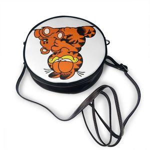 Image 3 - Garfield bolsa de ombro garfield 4 bolsa de couro mini impressão feminina sacos multi purpose adolescente crossbody mulher trending bolsa redonda