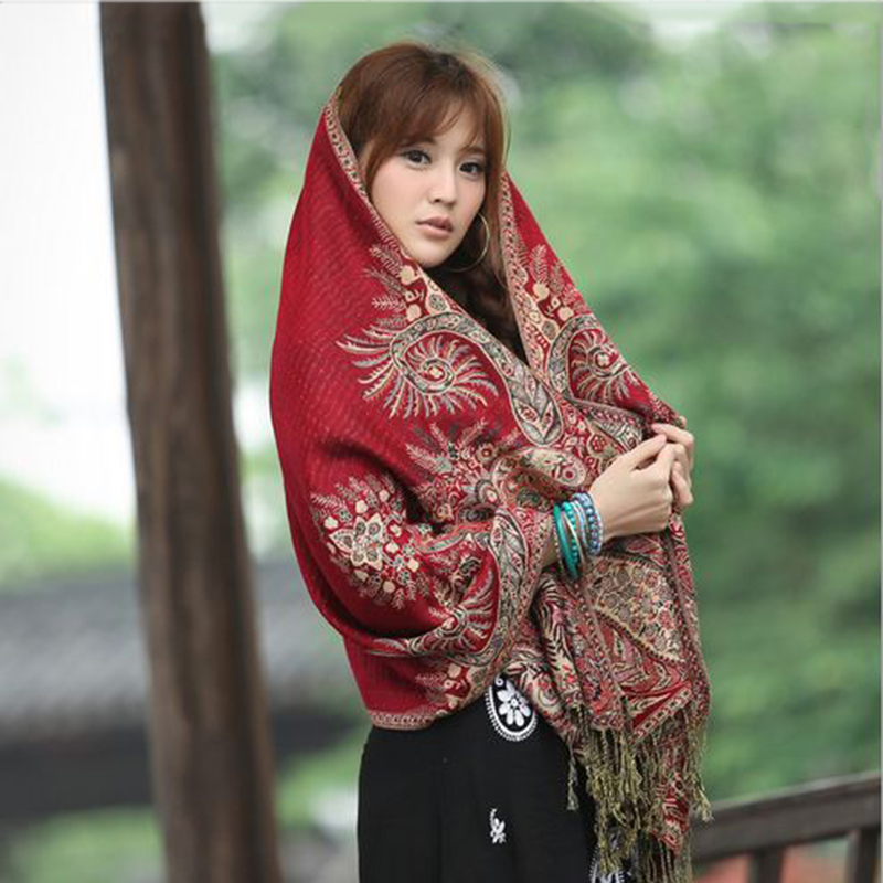 2019 Women Long Wool Pashmina Scarf Female Warm Shawls And Wrap Scarf Ethnic Style Cashmere Scarves For Girls Foulard Femme