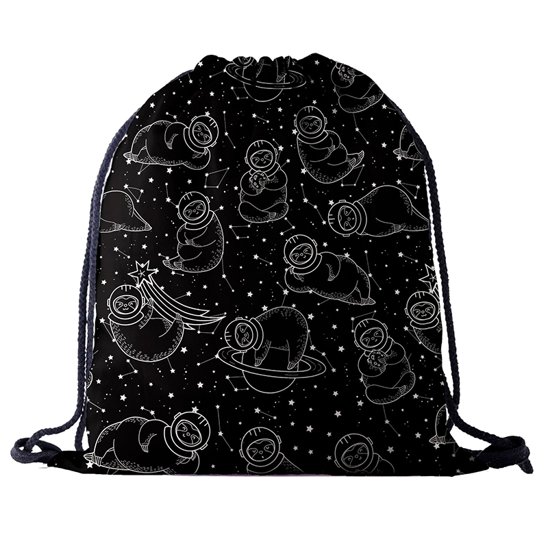Black Backpack Drawstring BAGS Drawstring Fashion 3D Printing Travel Softback Men Bags UNISEX Women's Shoulder Bag Knapsack New