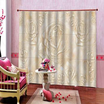 2020 high quality 3D curtains Marble relief flower courtains for living room bedroom modern window curtains Blackout