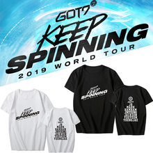 K-pop GOT7 2019 WORLD TOUR <KEEP SPINNING> Concert Supporting T-shirt Kpop GOT7 Short Sleeve Tshirt Cotton Tops Fans Collection(China)