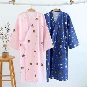 Llghtweight Japanese Cotton Robes for Women Breathable Kimono Pajamas Yukata Gauze Long Dress Sleepwear Lounge Loose Style 1