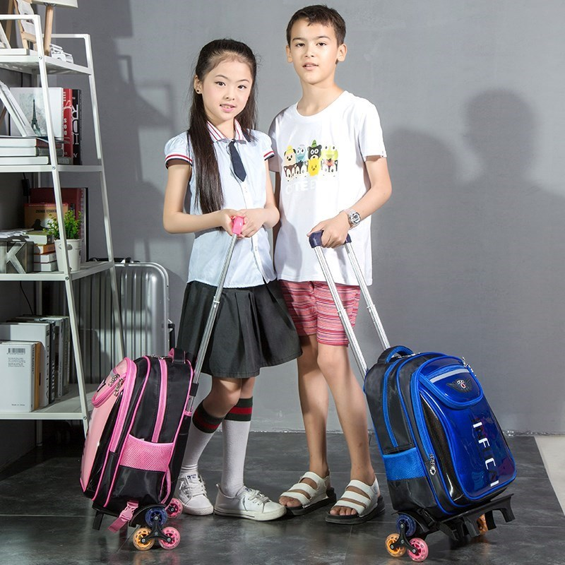Girls' Backpack Drag Of Slidable Bag Young STUDENT'S Trolley Bag Pulley Hand Pull Can Towbar School Bag Backpack