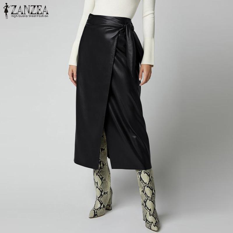 Stylish Lace-Up Skirts Women's PU Leather Vestidos ZANZEA 2020 High Waist Split Midi Skirts Female Solid Robe Femme Plus Size