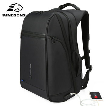 Kingsons 1517 Laptop Backpack External USB Charge Computer Backpacks Anti-theft Waterproof Bags for Men Women large capacity kingsons top quality teenager student girl women men backpack usb charge anti theft famous brand notebook laptop bag rucksack