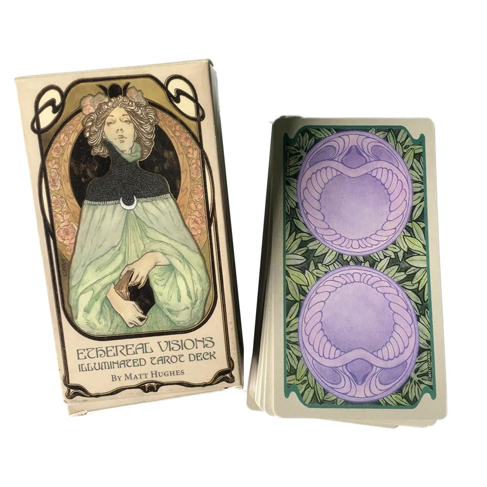 80pcs Ethereal Visions Illuminated Tarot Cards Full English Tarot Deck Board Game Cards Entertainment For Friends Family Party