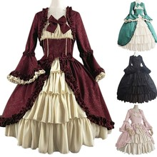 Gothic Court  Bow Dress Women Vintage Square Collar Patchwork Ball Gown