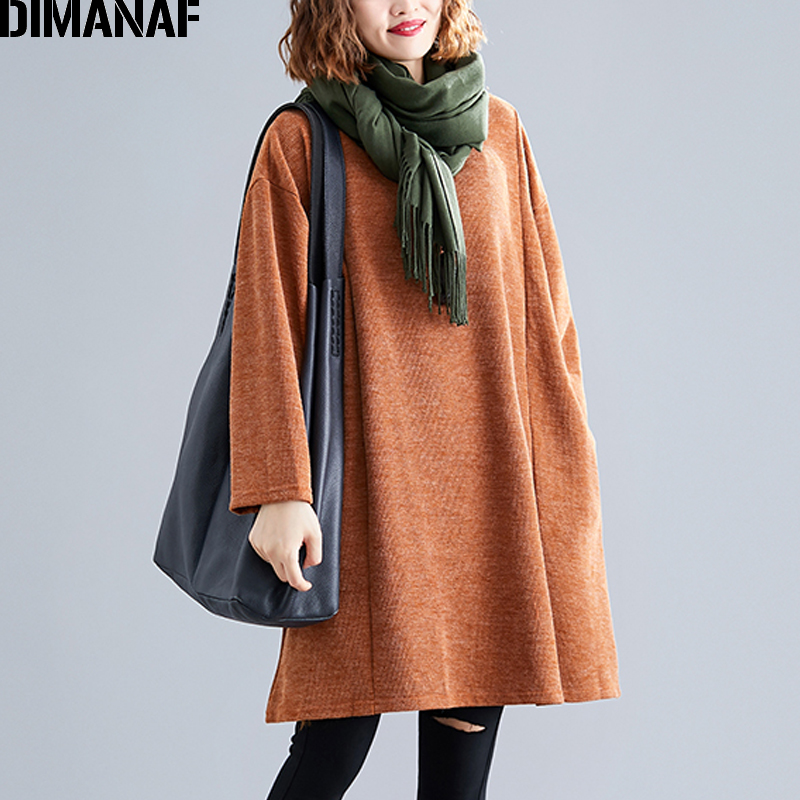 DIMANAF Plus Size Women Sweatshirts Knitted Female Tops Shirts Autumn Winter Long Sleeve Big Size Loose Casual Solid Clothing