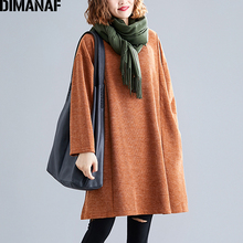 DIMANAF Plus Size Women Sweatshirts Knitted Female Tops Shirts Autumn Winter Long Sleeve Big Loose Casual Solid Clothing