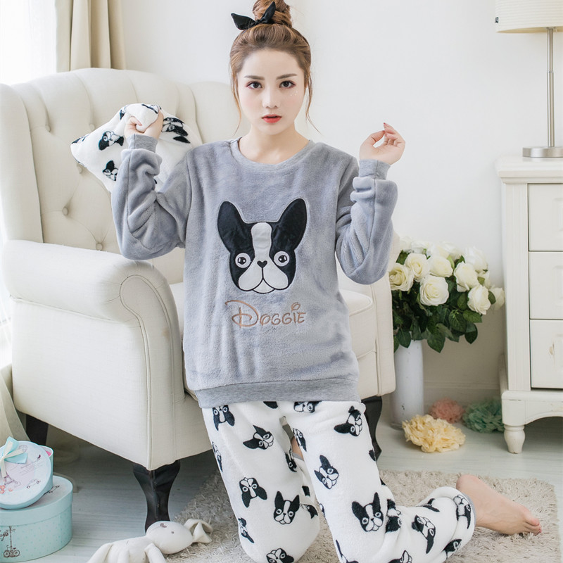 Flannel Pajama Sets For Women Long Sleeved Warm Thick Sleepwear Suit Dog Cartoon Nightly Ladies Winter Pijama Home Clothing 2pcs