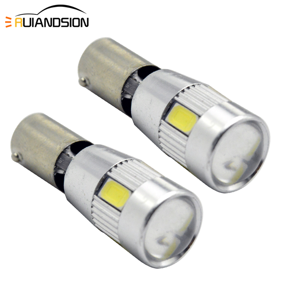 2PCS 2W <font><b>H21W</b></font> <font><b>BAY9S</b></font> BA9S BAX9S 6smd 5630 <font><b>LED</b></font> Canbus super bright Car Clearance Reading Dome Lamp Lights white 12-16V Car styling image