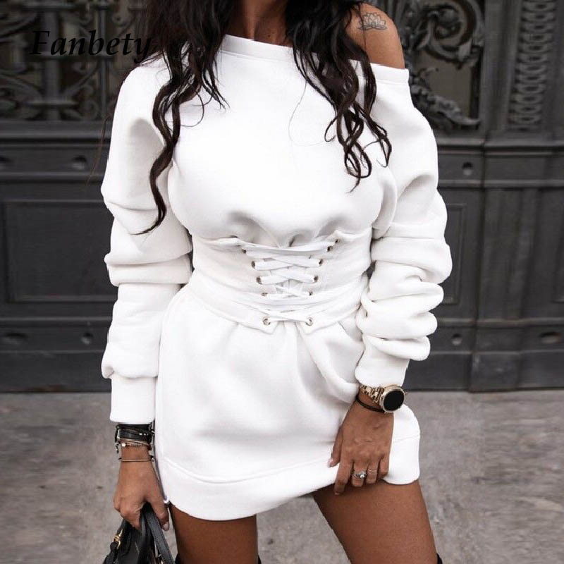 Lady Sexy One Off Shoulder Sweatshirt Dress Women Casual Autumn Long Sleeve Mini Dress Female Winter Warm Lace-Up Bandage Dress