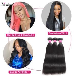 Image 3 - Meetu מלזי ישר שיער חבילות צבע טבעי 100% שיער טבעי Weave חבילות ללא רמי שיער תוספות לקנות 3 או 4 חבילות